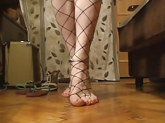 My cute feminine feet and toes in fishnets!