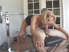 Blonde Tranny Gia give it and take..even on her feet