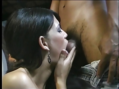 Cute tranny sucks on a long thick cock then gets fucked