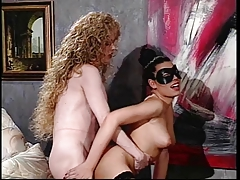 2 horny trannies in hot action