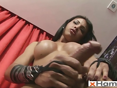 Sexy Shemale Fucks 3 Dildos and Shoots Cum