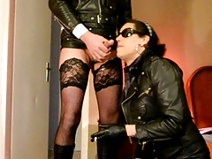 leather tranny crossdresser sluts blowjob
