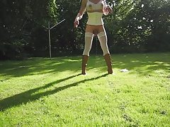 Jeannet Fuentes enjoing the sun in the garden