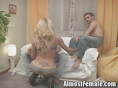 Tranny Gets Double Anal Fucked