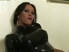 Amazing shemale in latex stroke her big cock