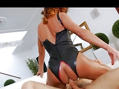 Brunette tgirl wit HOT body gets bareback