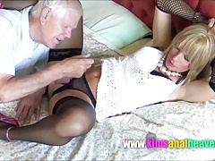 Dirty old guy gives crossdresser Kim's ass a good seeing to