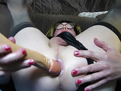 Dawn fucking her ass with dildo