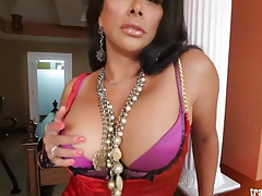 Hot shemale Vaniity stroke her huge shecock