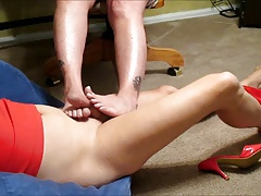 lisa recieves footjob from wife