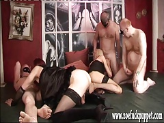 Hot crossdresser and shemale gang bang with cocks and cum