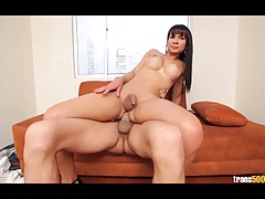 Transsexual Anna Bella gets her ass stuffed