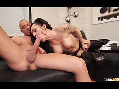 Hot Latin tranny sucking and fucking big cock