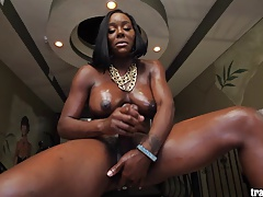 Hot black shemale pole dancer