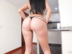 Gorgeous Latin shemale with big boobs ass and cock