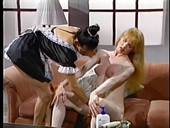 Tranny gets teased by maid