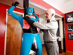 Rubber Shemale Sex Slave - bound statue