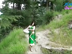 Desi girl in transparent wet saree showing boobs..hot show