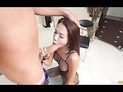 Sexy Asian shemale fucked in her mouth and pussy